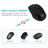Pictek Wireless Laptop Mouse Computer Mice PC Mouse with Nano Receiver 6 Buttons 2400 DPI 3