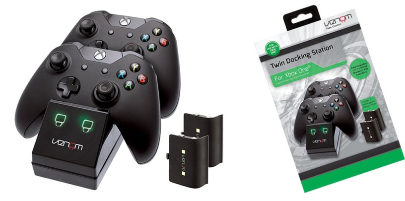 Venom Xbox One Twin Docking Station with Rechargeable Battery Packs Black Colour