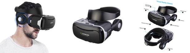 VR Headset, Hizek VR Glasses Virtual Reality Movies Games Helme with Headphone for iPhone Samsung Galaxy HUAWEI,Xiaom